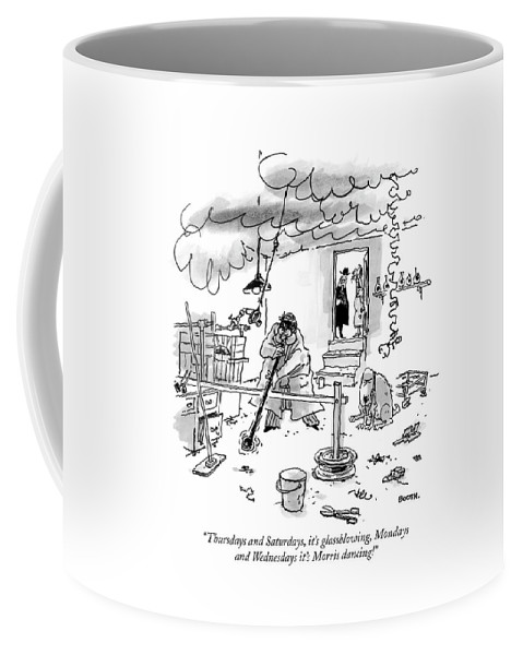 Old Age Coffee Mug featuring the drawing Thursdays And Saturdays by George Booth