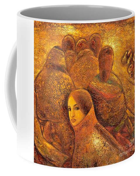 Tibet Coffee Mug featuring the painting Tibet Golden Times by Shijun Munns