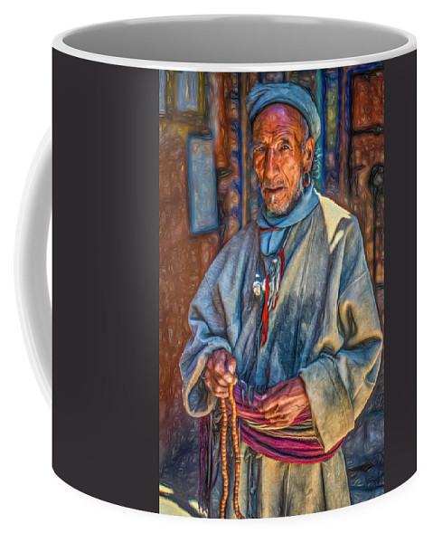 Himalaya Coffee Mug featuring the photograph Tibetan Refugee - Paint by Steve Harrington