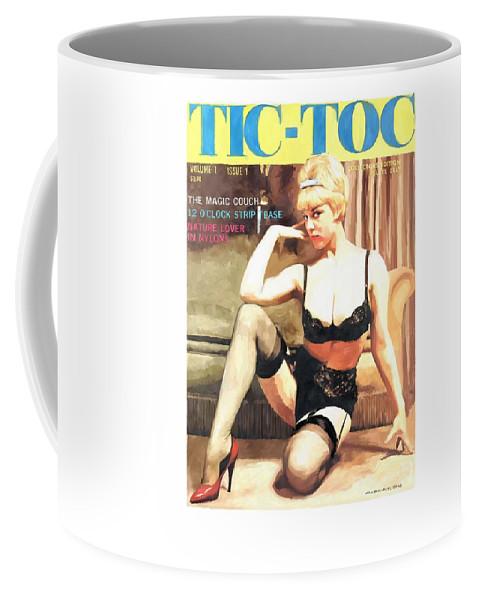 Tic-toc Coffee Mug featuring the digital art Tic-Toc - Vintage Magazine Covers Series by Gabriel T Toro