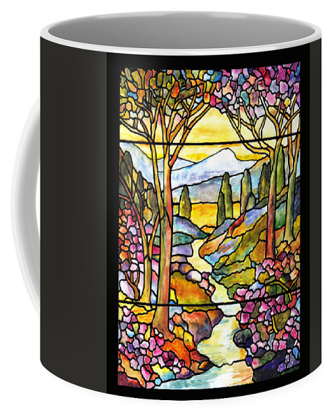 Stained Glass Paintings Coffee Mug featuring the painting Tiffany Landscape Window by Donna Walsh