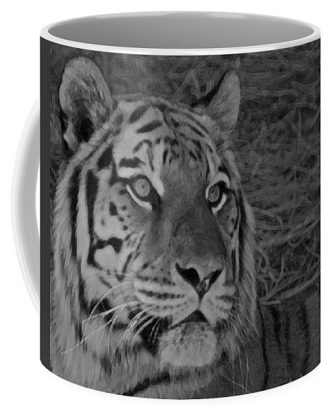 Tiger Coffee Mug featuring the photograph Tiger Bw by Ernie Echols