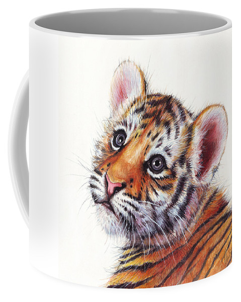Tiger Coffee Mug featuring the painting Tiger Cub Watercolor Painting by Olga Shvartsur