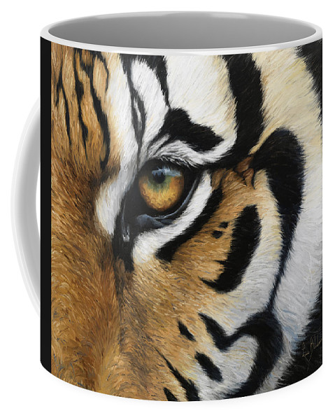 Tiger Coffee Mug featuring the painting Tiger Eye by Lucie Bilodeau