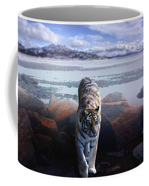Tiger Coffee Mug featuring the digital art Tiger In A Lake by Pati Photography
