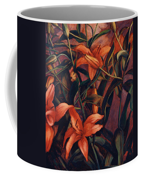 Tiger Coffee Mug featuring the painting Tiger Lilies by Konnie Kim