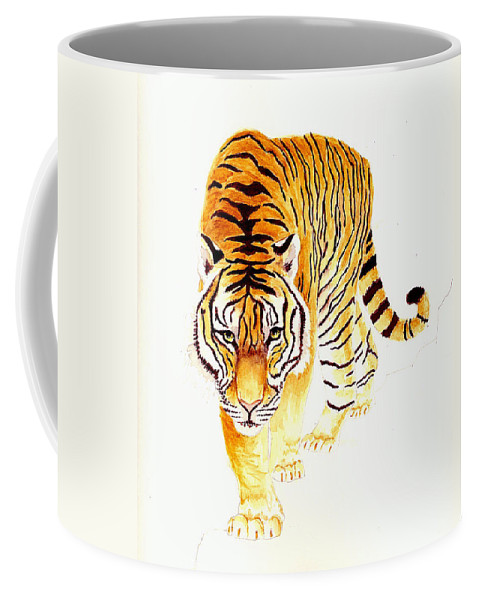 Tiger Coffee Mug featuring the painting Tiger by Michael Vigliotti