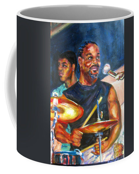 Drums Coffee Mug featuring the painting Tiger On Drums by Beverly Boulet