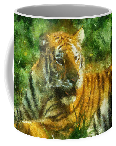Feline Coffee Mug featuring the photograph Tiger Resting Photo Art 02 by Thomas Woolworth