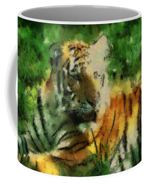 Feline Coffee Mug featuring the photograph Tiger Resting Photo Art 03 by Thomas Woolworth