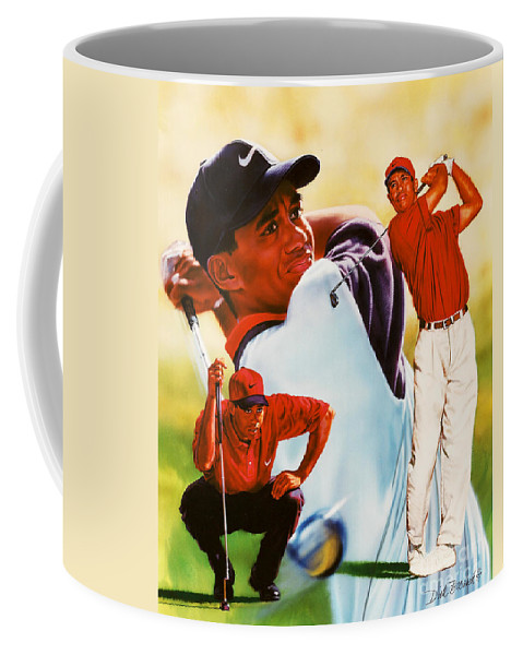 Sports Coffee Mug featuring the painting Tiger Woods by Dick Bobnick