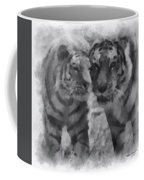 Feline Coffee Mug featuring the photograph Tigers Photo Art 01 by Thomas Woolworth