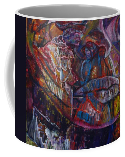 African Women Coffee Mug featuring the painting Tikor Woman by Peggy Blood