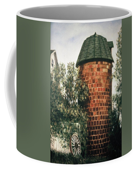 Structure Coffee Mug featuring the painting Tile Silo by James Welch