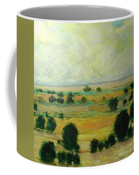 Landscape Coffee Mug featuring the painting Till The Clouds Rolls By by Allan P Friedlander