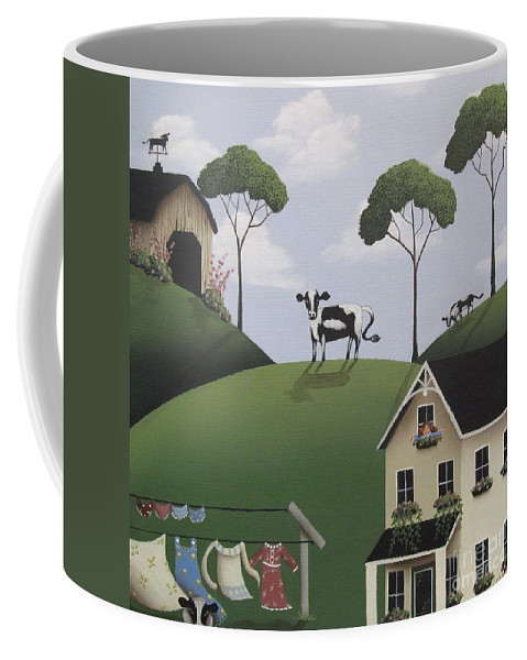 Art Coffee Mug featuring the painting Till The Cows Come Home by Catherine Holman