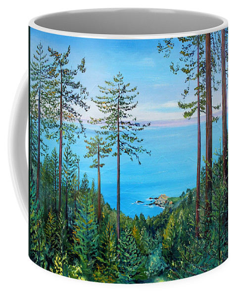 Seascape Painting Coffee Mug featuring the painting Timber Cove On A Still Summer Day by Asha Carolyn Young