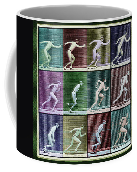 Man Coffee Mug featuring the painting Time Lapse Motion Study Man Running Color by Tony Rubino