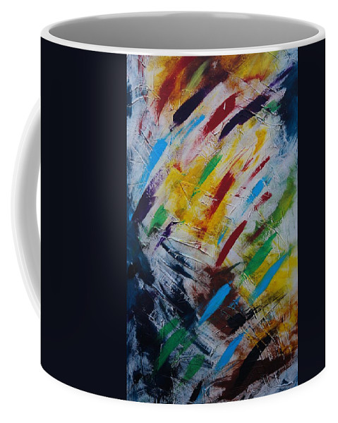 Abstract Coffee Mug featuring the painting Time stands still by Sergey Bezhinets