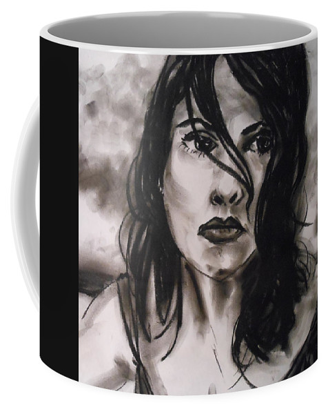 Woman Coffee Mug featuring the drawing Time To Think by Jason Reinhardt