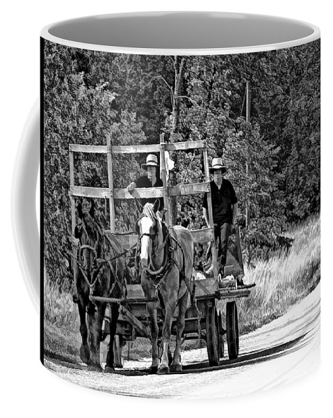 Amish Coffee Mug featuring the photograph Time Travelers Bw by Steve Harrington