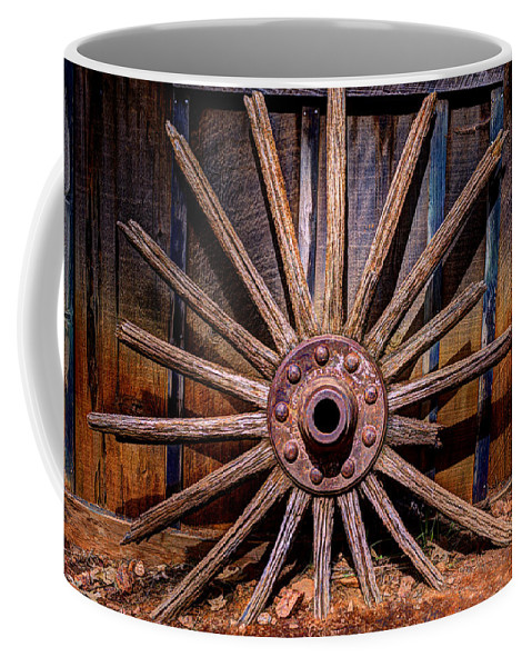 Rusty Coffee Mug featuring the photograph Time Worn Wheel by Diego Re