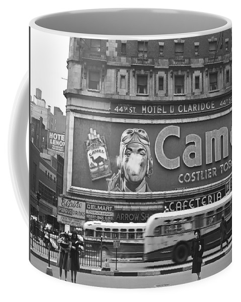 1943 Coffee Mug featuring the photograph Times Square Advertising by John Vachon