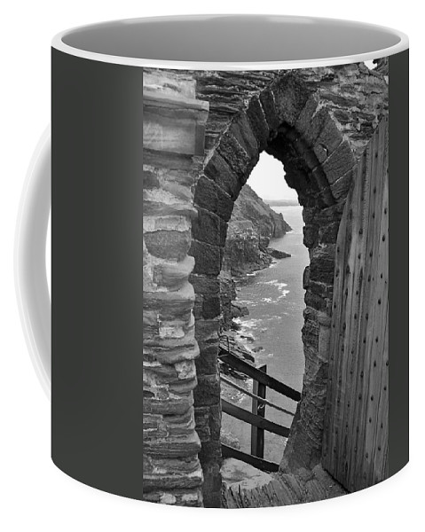 Black And White Coffee Mug featuring the photograph Tintagel Portal 1 by Denise Mazzocco