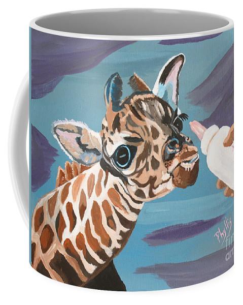 Tiny Giraffe Coffee Mug featuring the painting Tiny Baby Giraffe With Bottle by Phyllis Kaltenbach