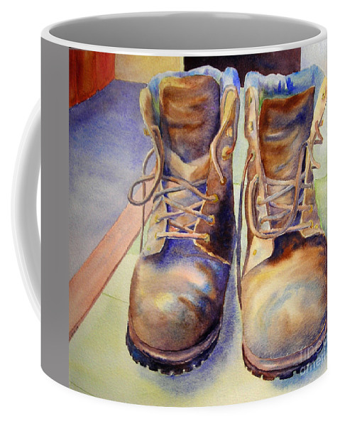 Coffee Mug featuring the painting Tired Boots by Linda Haile
