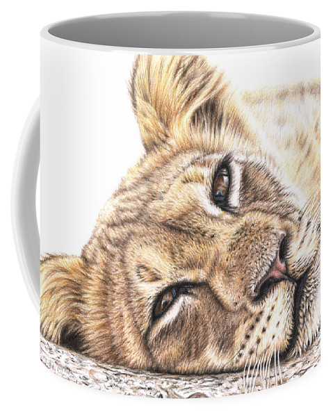 Lion Coffee Mug featuring the drawing Tired Young Lion by Nicole Zeug