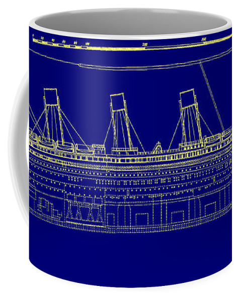Titanic blueprint coffee mug for sale by bill cannon front right view malvernweather Gallery