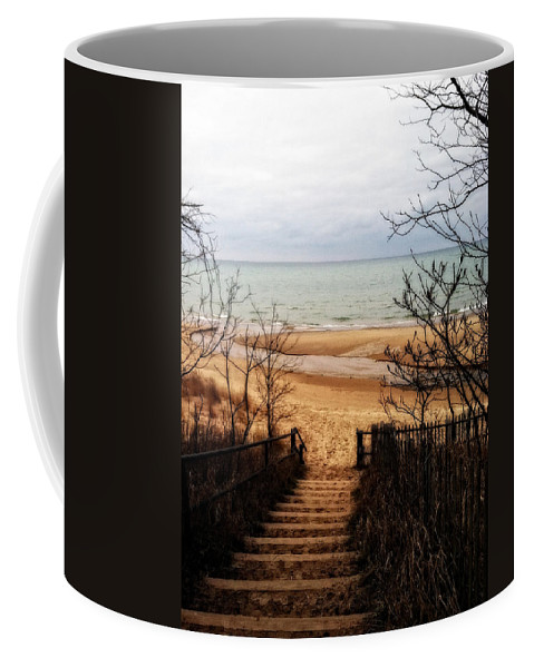 Michigan Coffee Mug featuring the photograph To The Beach by Michelle Calkins