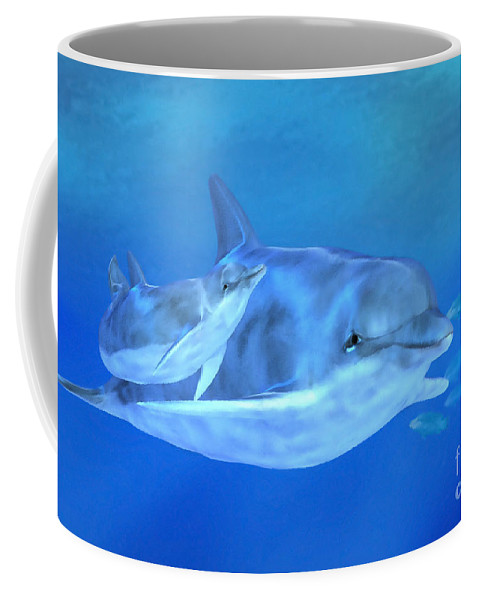 Dolphin Mother With Calf Coffee Mug featuring the digital art Togetherness by John Edwards