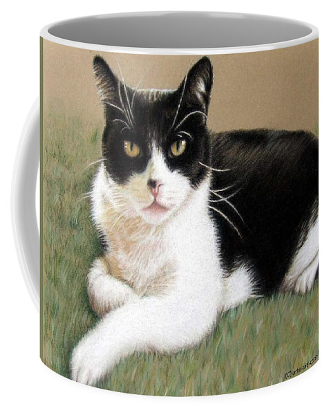 Cat Coffee Mug featuring the pastel Tomcat Baloo by Nicole Zeug