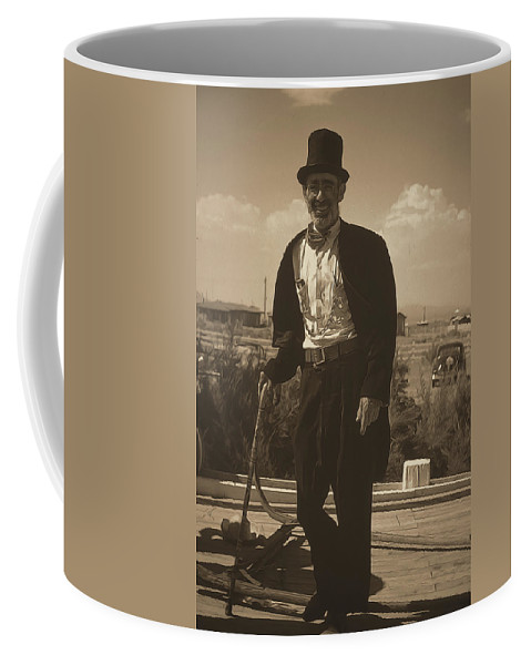 Coffee Mug featuring the digital art Top Hat And Tails Monochrome by Cathy Anderson