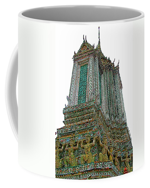 Top Of Temple Of The Dawn Coffee Mug featuring the photograph Top Of Temple Of The Dawn-wat Arun In Bangkok-thailand by Ruth Hager
