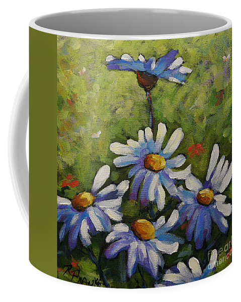 Daisies Flowers Coffee Mug featuring the painting Top Of The Bunch Daisies By Prankearts by Richard T Pranke