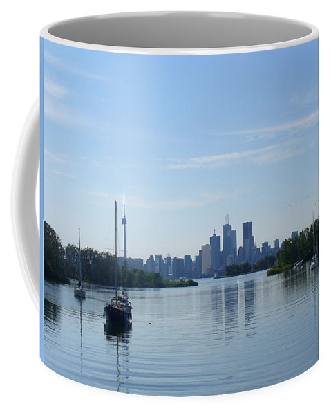 City Skyline Coffee Mug featuring the photograph Toronto Skyline From Tommy Thompson Park by Lingfai Leung