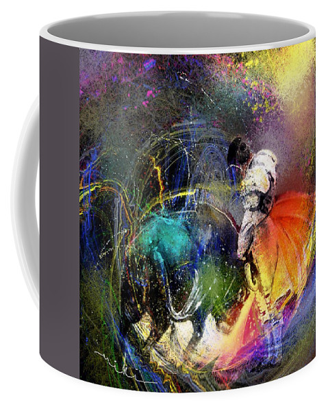 Bullfight Coffee Mug featuring the painting Toroscape 20 by Miki De Goodaboom