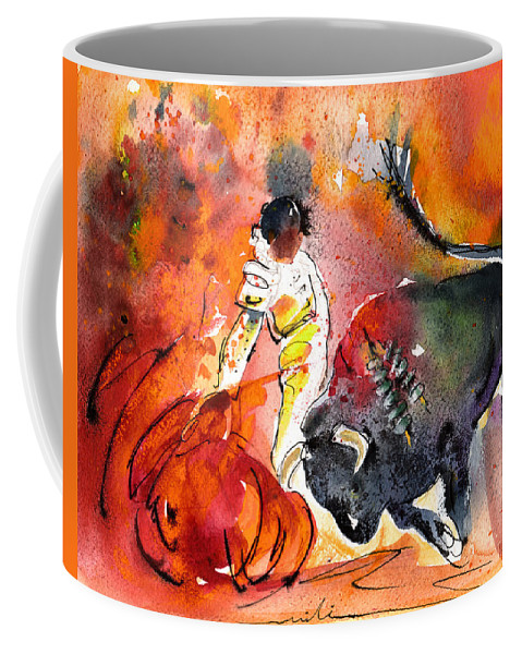 Culture Coffee Mug featuring the painting Bullfighting The Reds by Miki De Goodaboom