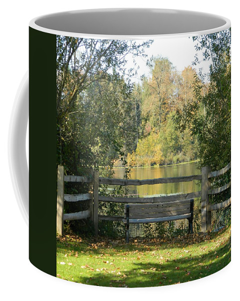 Serenity Coffee Mug featuring the photograph Touch Of Fall In Serenity by Nicki Bennett