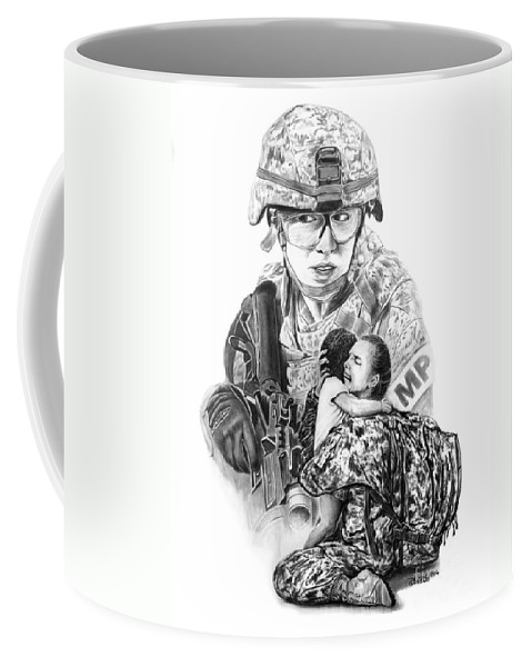 Tour Of Duty - Women In Combat Coffee Mug featuring the drawing Tour Of Duty - Women In Combat Le by Peter Piatt