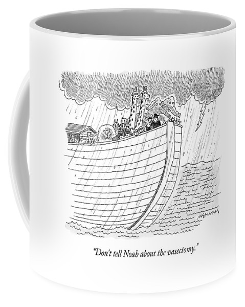 Noah Coffee Mug featuring the drawing Tourists On Noah's Ark by Mick Stevens