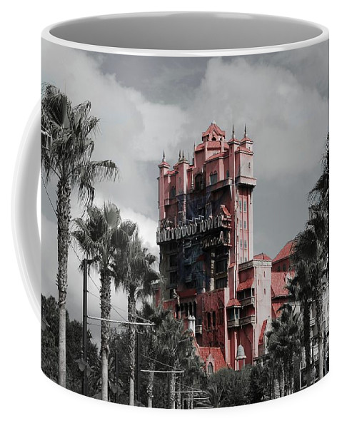 Architecture Coffee Mug featuring the mixed media Tower Of Terror In Color by Eric Liller