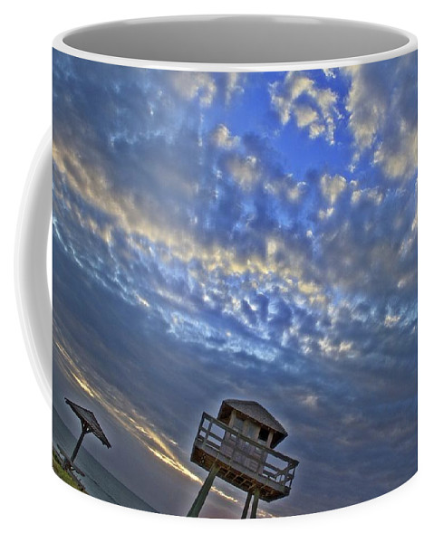 Wwii Tower Ormond Beach Ocean Seaside Sunrise Coffee Mug featuring the photograph Tower View by Alice Gipson