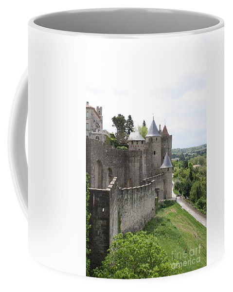 Historic Town Coffee Mug featuring the photograph Towers And Townwall - Carcassonne by Christiane Schulze Art And Photography