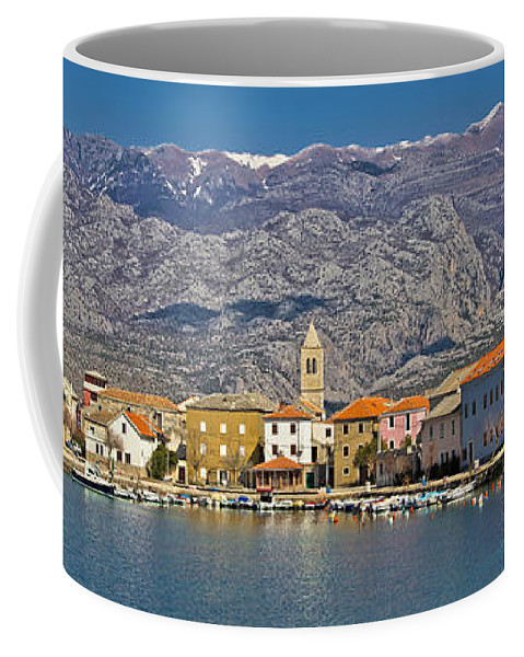 Croatia Coffee Mug featuring the photograph Town Of Vinjerac In Front Of Paklenica National Park by Brch Photography
