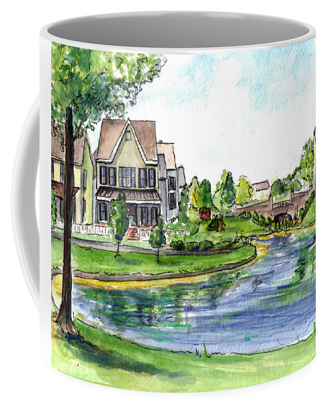 Robbinsville Towne Coffee Mug featuring the painting Towne Center by Clara Sue Beym