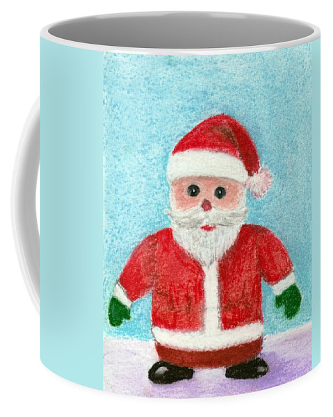 New Year Coffee Mug featuring the painting Toy Santa by Anastasiya Malakhova
